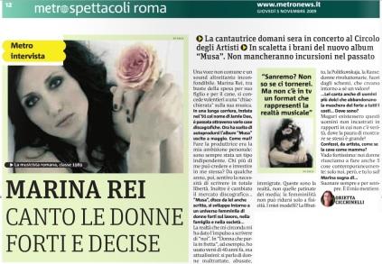 Metro Roma Giovedì 05 11 2009 - Intervista a Marina Rei