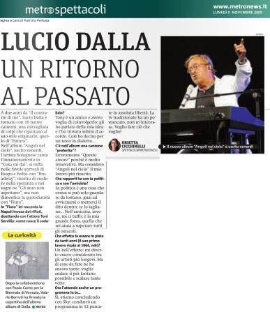 Metro Lunedì 09 11 2009 - Intervista a Lucio Dalla