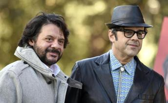 Italian actors/cast members Pasquale Petronio alias Lillo (L) and Claudio Gregori alias Greg (R), pose for photographs during the photo call for the movie 'Natale col Boss', in Rome, Italy, 15 December 2015. The movie will be released in Italian theaters on 16 December. ANSA/CLAUDIO ONORATI