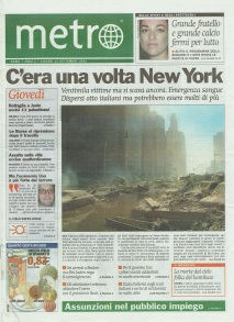 Metro prima pagina Giovedì 13 09 2001