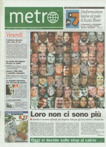 Metro prima pagina Venerdì 14 09 2001