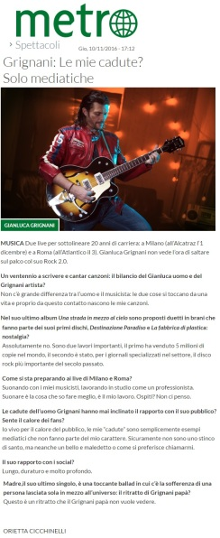 www,metronews.it Giovedì 10 11 2016 - Intervista a Gianluca Grignani