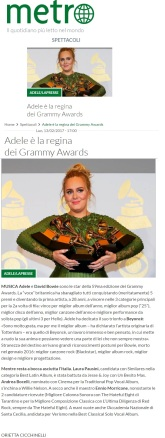 www.metronews.it Lunedì 13 02 2017 - Grammy Awards