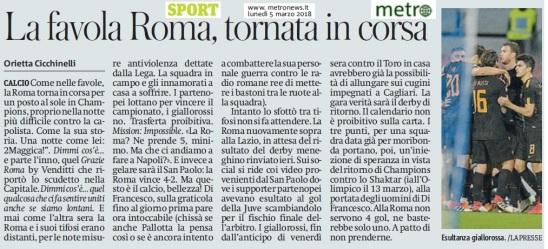Metro Lunedì 05 03 2018 - Post Napoli Roma 2-4