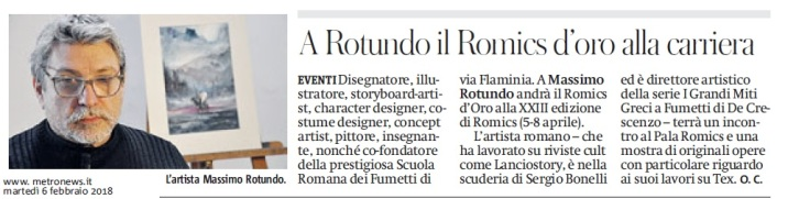Metro Roma Martedì 06 02 2018 - Oscar a Massimo Rotundo
