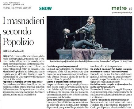 Metro Roma Martedì 23 01 2018 - Intervista a Massimo Popolizio