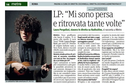 Metro Roma Mercoledì 07 12 2016 - Intervista a Lp