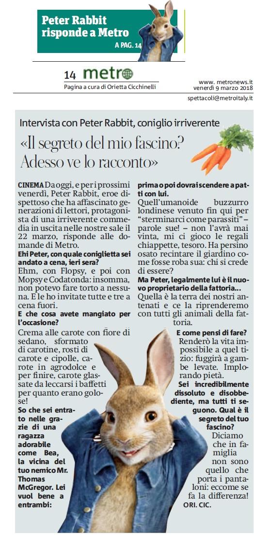 Metro Venerdì 09 03 2018 - Intervista a Peter Rabbit