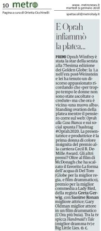 Metro Martedì 09 01 2018 - Golden Globes