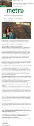 www.metronews.it Lunedì 20 02 2017 - Intervista a Jo Champa