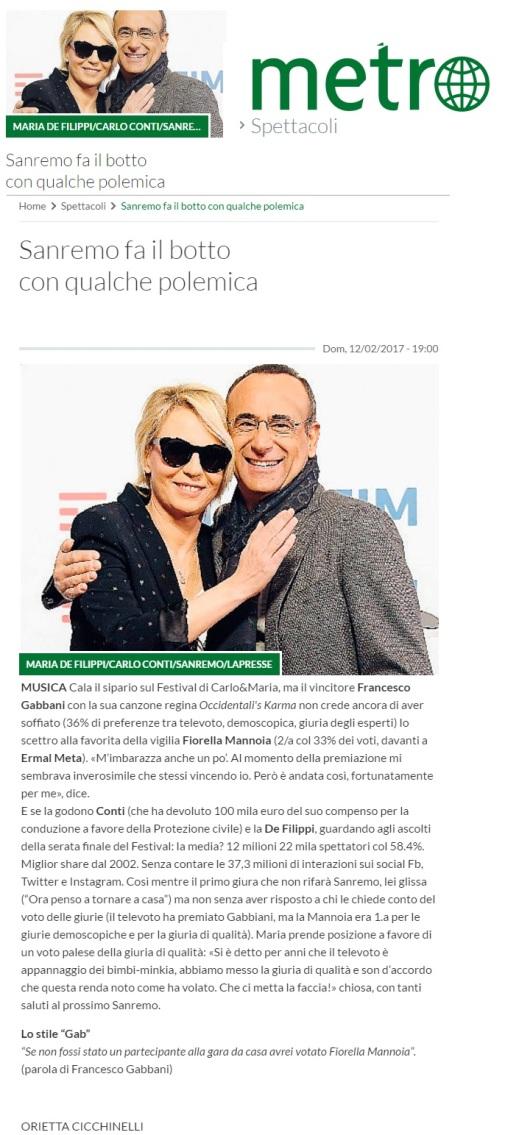 www.metronews.it Domenica 12 02 2017 - Sanremo