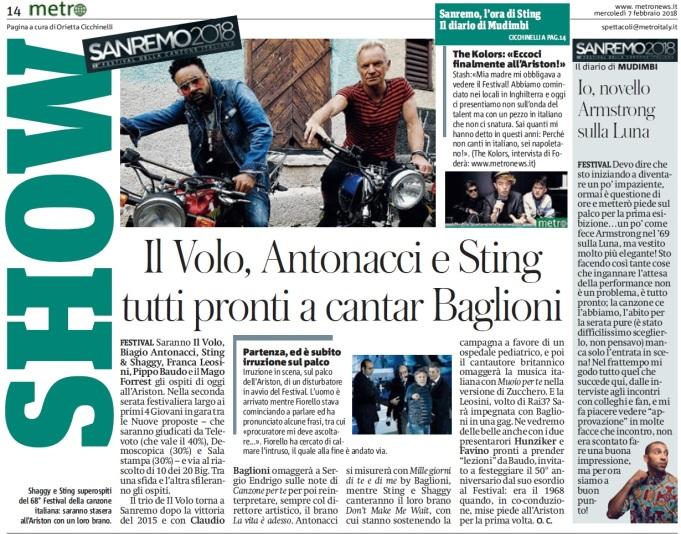 Metro Mercoledì 07 02 2018 - Sanremo 2018